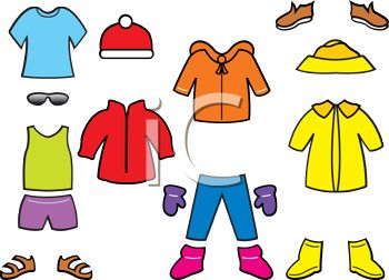 Royalty Free Clip Art Image: Collection of Seasonal Paper Doll Clothes.
