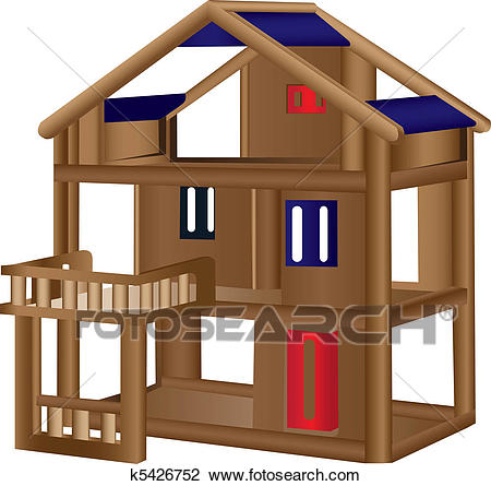 Wood doll house Clipart.