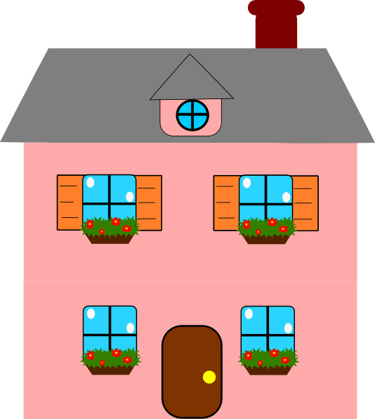Houses Clipart Pink.