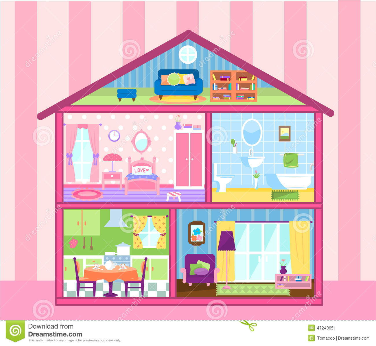 Dollhouse Stock Illustrations.