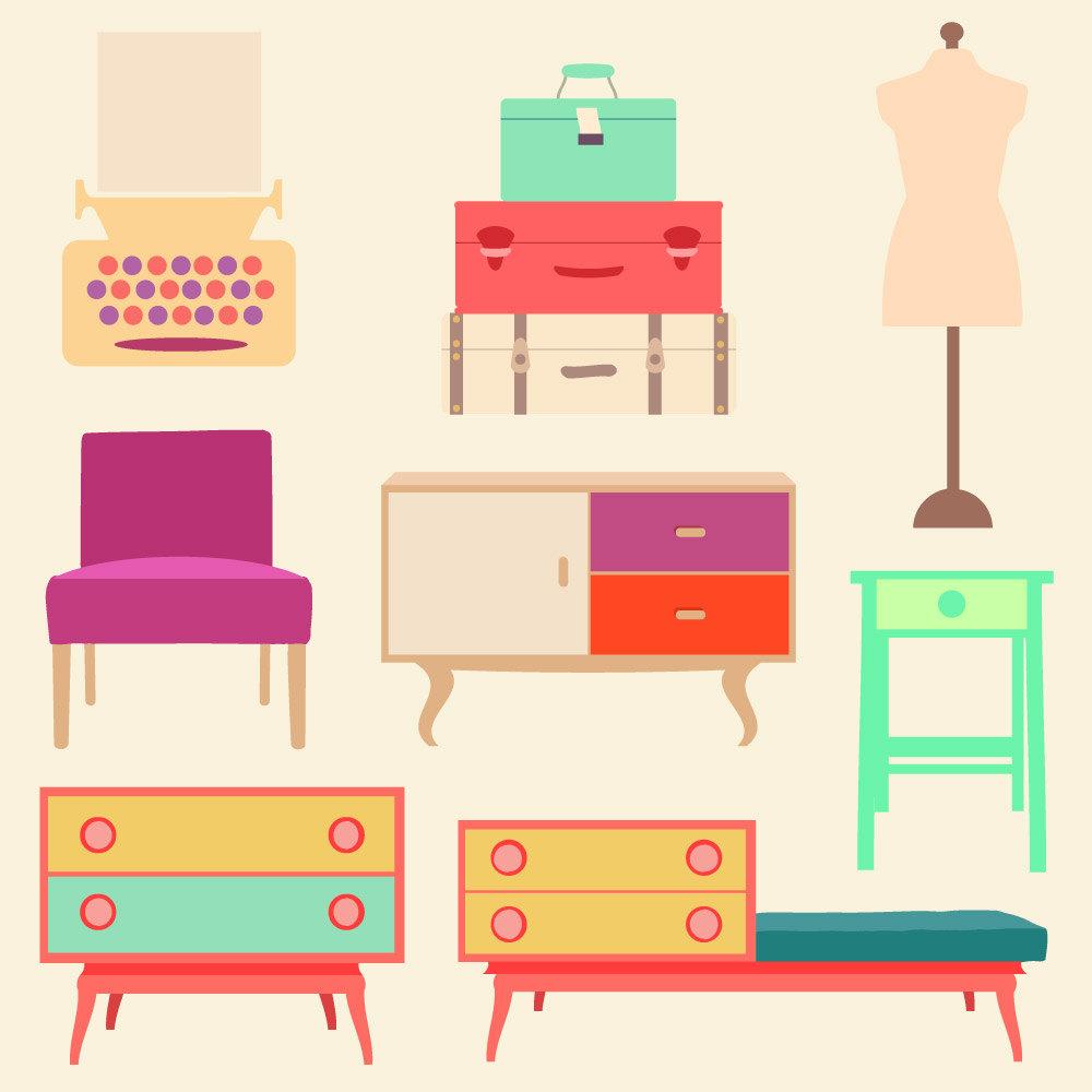 Dollhouse Furniture Clip Art.
