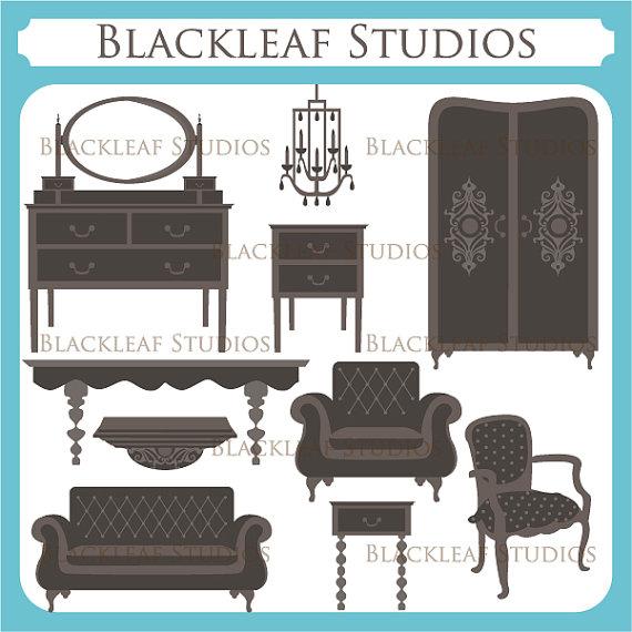 Doll House Furniture Clip Art digital by blackleafdesign on Etsy.