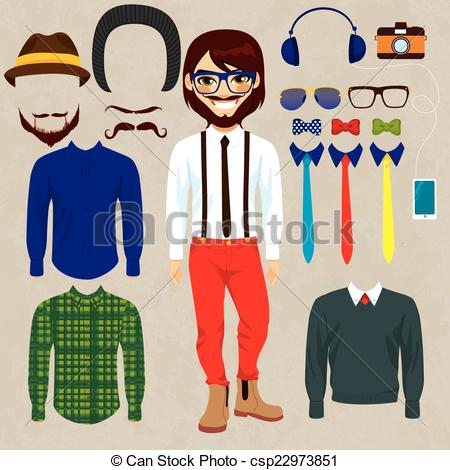 Clipart Vector of Hipster Smiling Paper Doll Man.