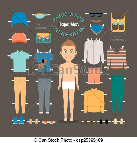 Vector of Paper doll man template. Shoes and jacket, model doll.
