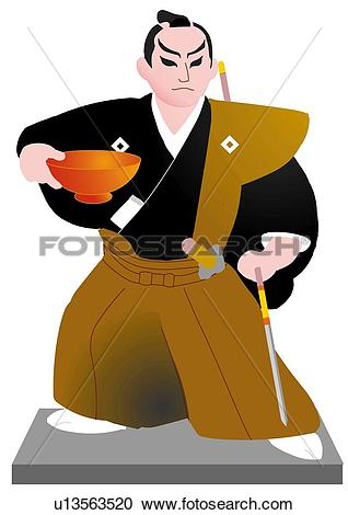 Stock Illustrations of Close up of Japanese male doll holding cup.