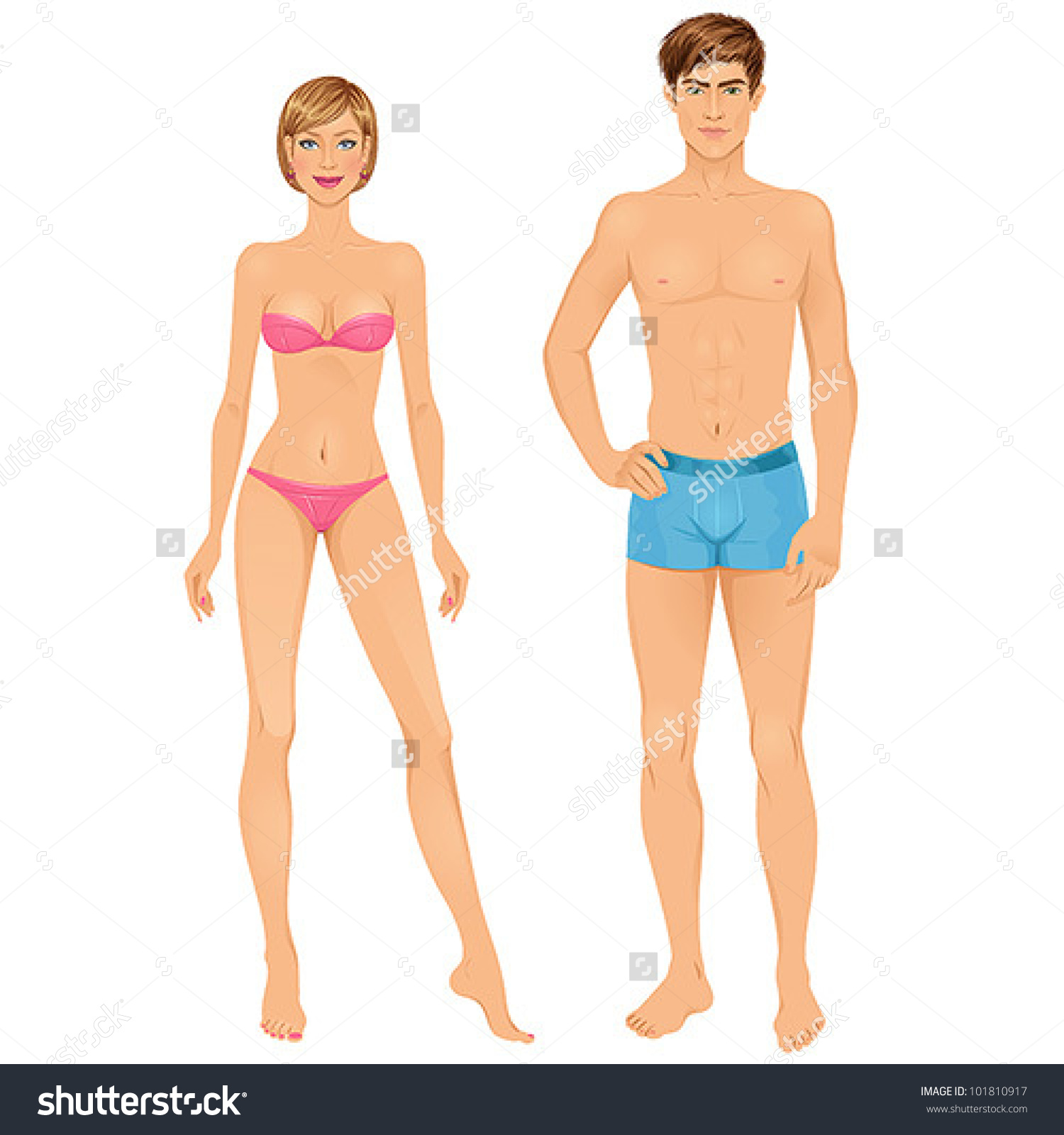 Man and woman body clipart.