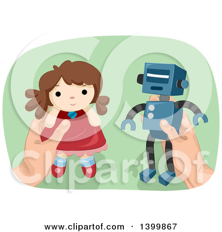 Boy playing with doll clipart.