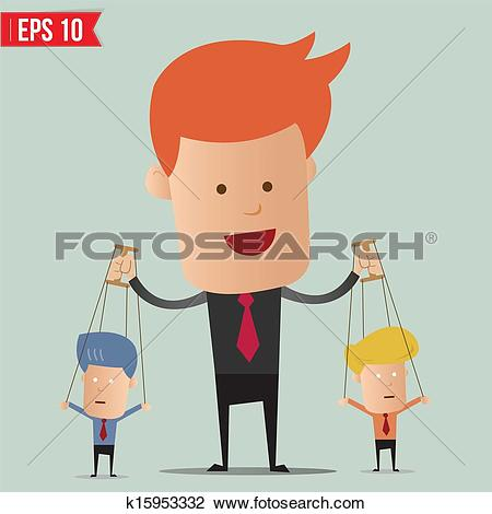Clipart of Business man control the doll.