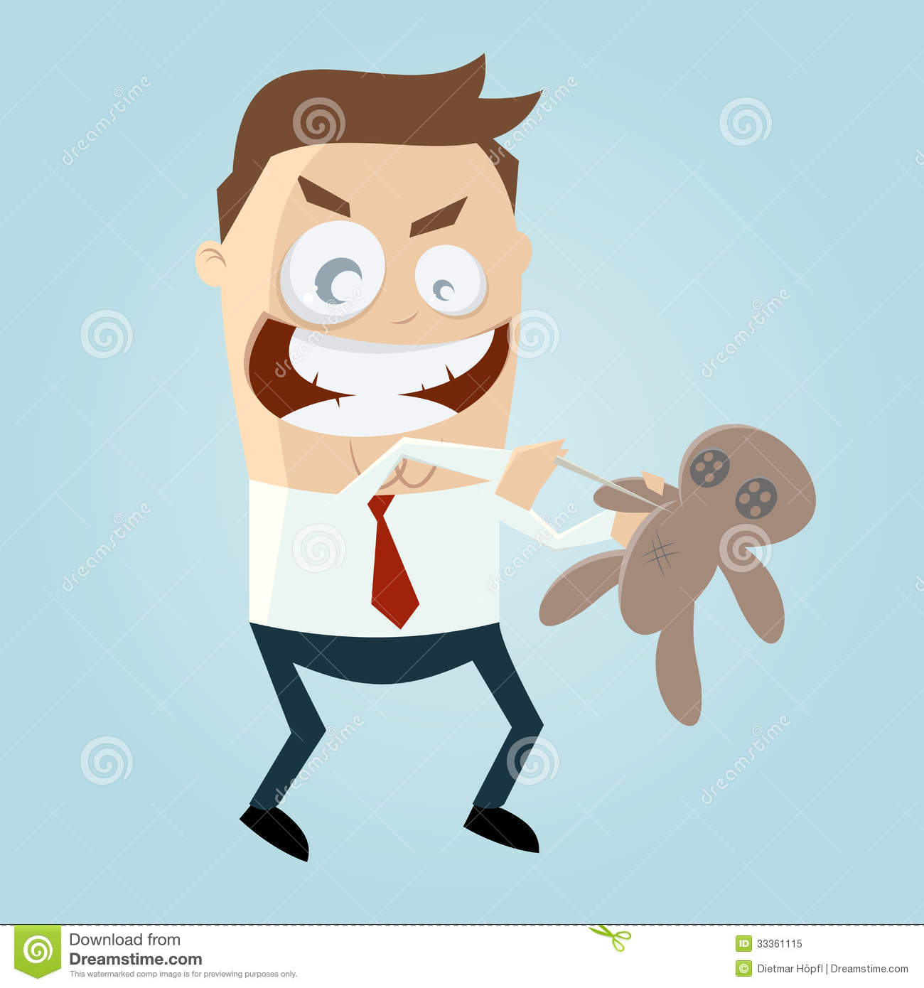 Cartoon Man With Voodoo Doll Royalty Free Stock Photo.
