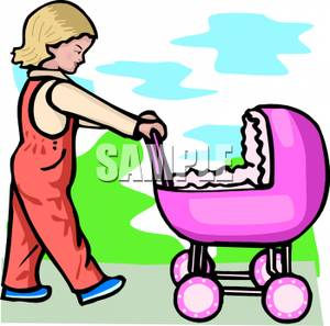 Little Girl Pushing A Toy Baby Doll Stroller.