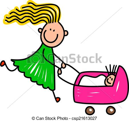 Clip Art of Happy Doll Girl.