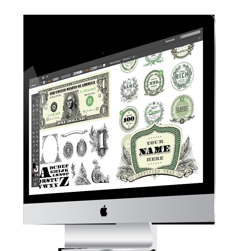 Vector Dollar Bill and Money Clipart Sets.