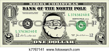 Clipart of Vector Santa One Dollar Bill k7767141.