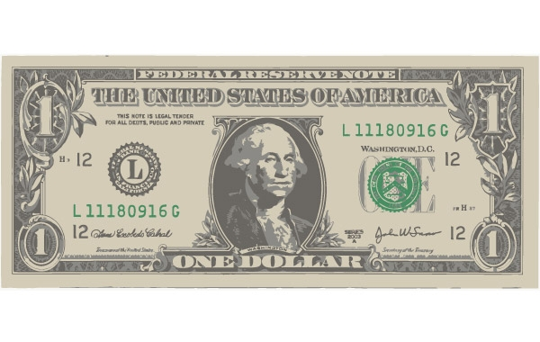 One American Dollar Bill vector, free vector graphics.