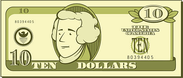 Best Ten Dollar Bill Illustrations, Royalty.