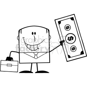 Royalty Free RF Clipart Illustration Black And White Lucky Businessman With  Briefcase Holding A Dollar Bill Cartoon Character clipart. Royalty.