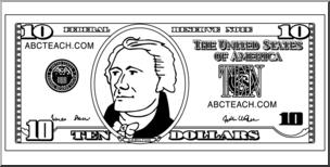Clip Art: Ten Dollar Bill Outline Front I abcteach.com.