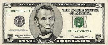 Five dollar bill clip art.