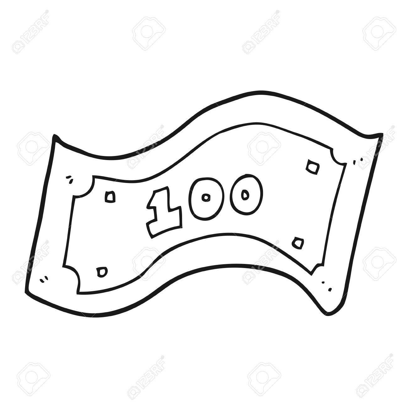 freehand drawn black and white cartoon 100 dollar bill.