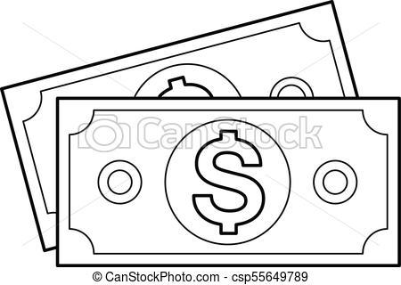 Money banknotes vector line icon..