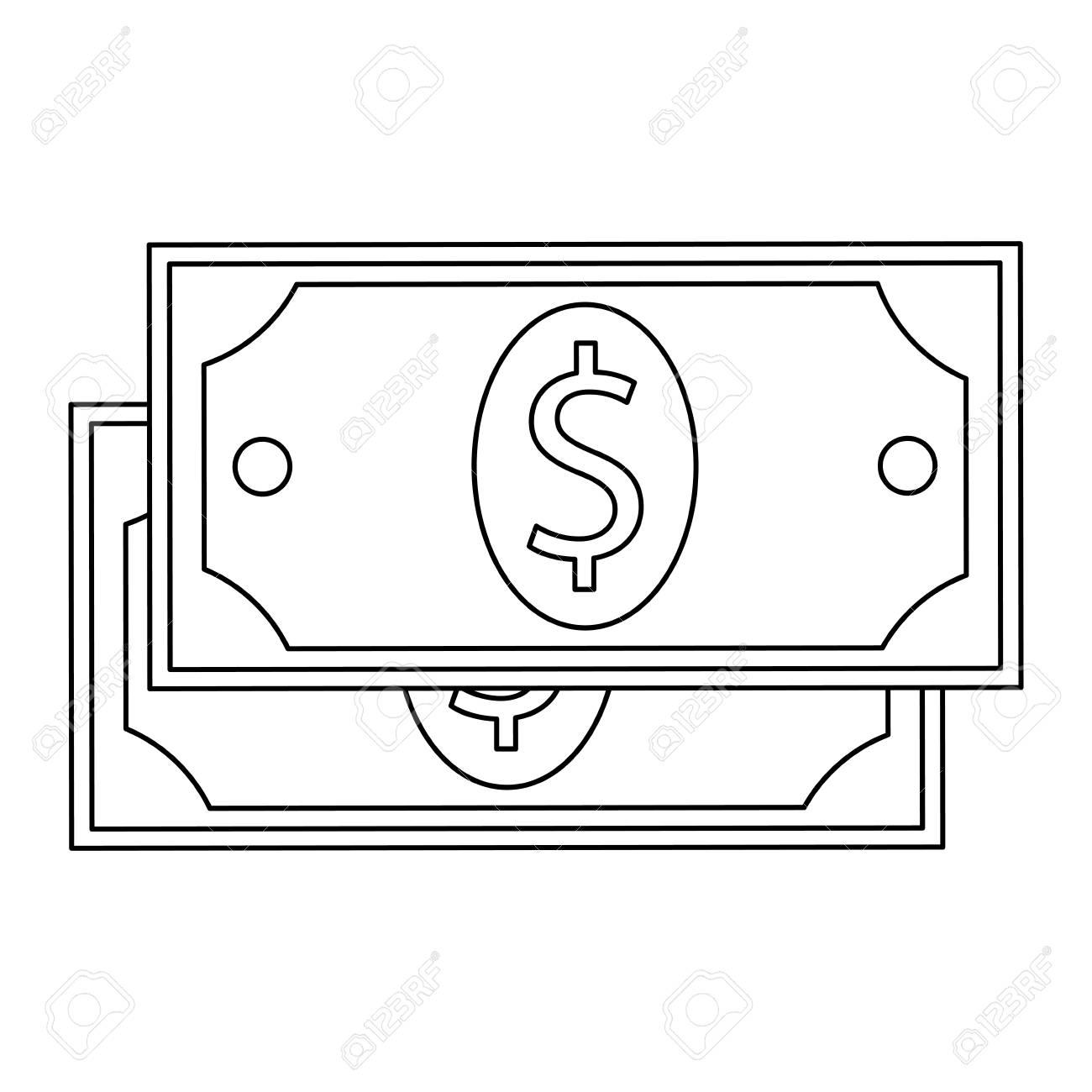 two simple black line dollar bills vector illustration isolated...