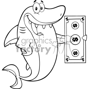 Clipart Black And White Happy Shark Cartoon Holding A Dollar Bill Vector  clipart. Royalty.