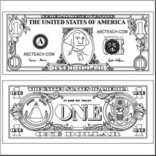 Clip Art: Dollar Bill Outline B&W I abcteach.com.