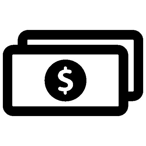 Two dollar bills Icons.