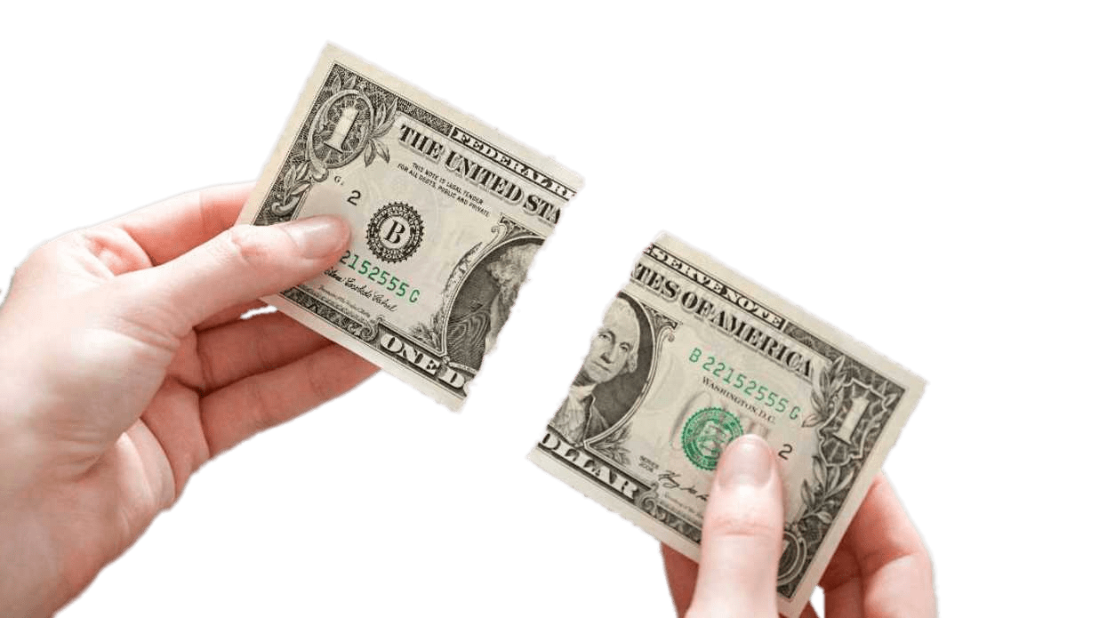 Dollar Bill Ripped In Two transparent PNG.
