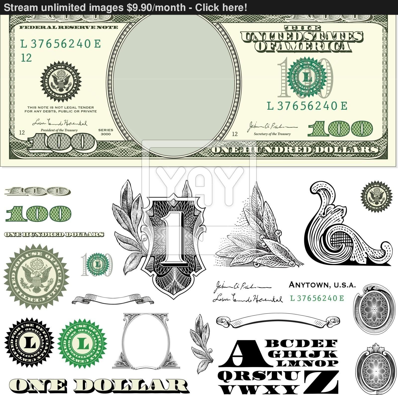 100 Dollar Bill Template.