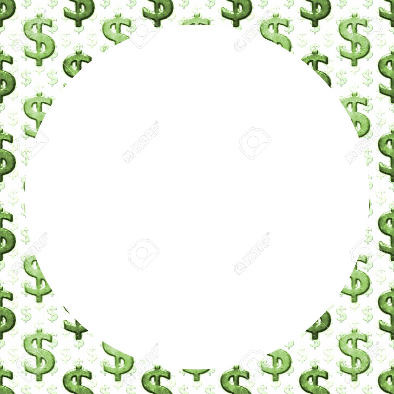 White background with dollar sign pattern design borders.