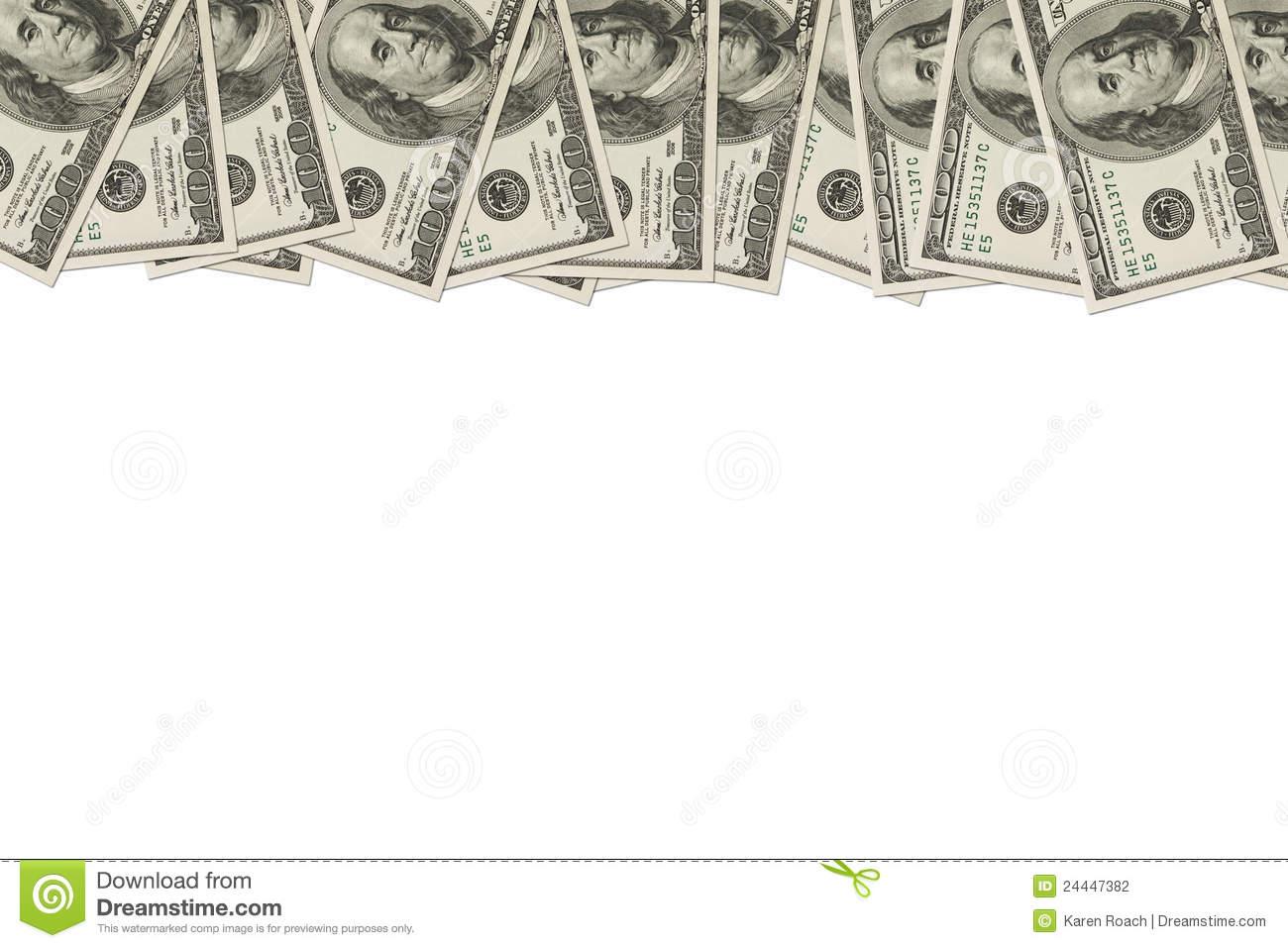 Money Border Of Hundred Dollar Bills Stock Photo.
