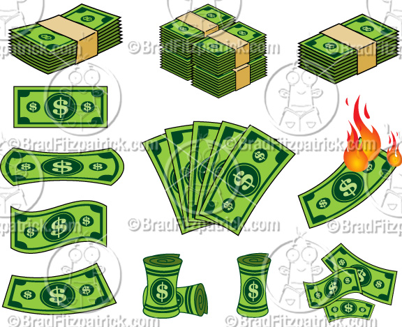 Cartoon Dollar Bill Clip Art Clipart Graphics Vector.