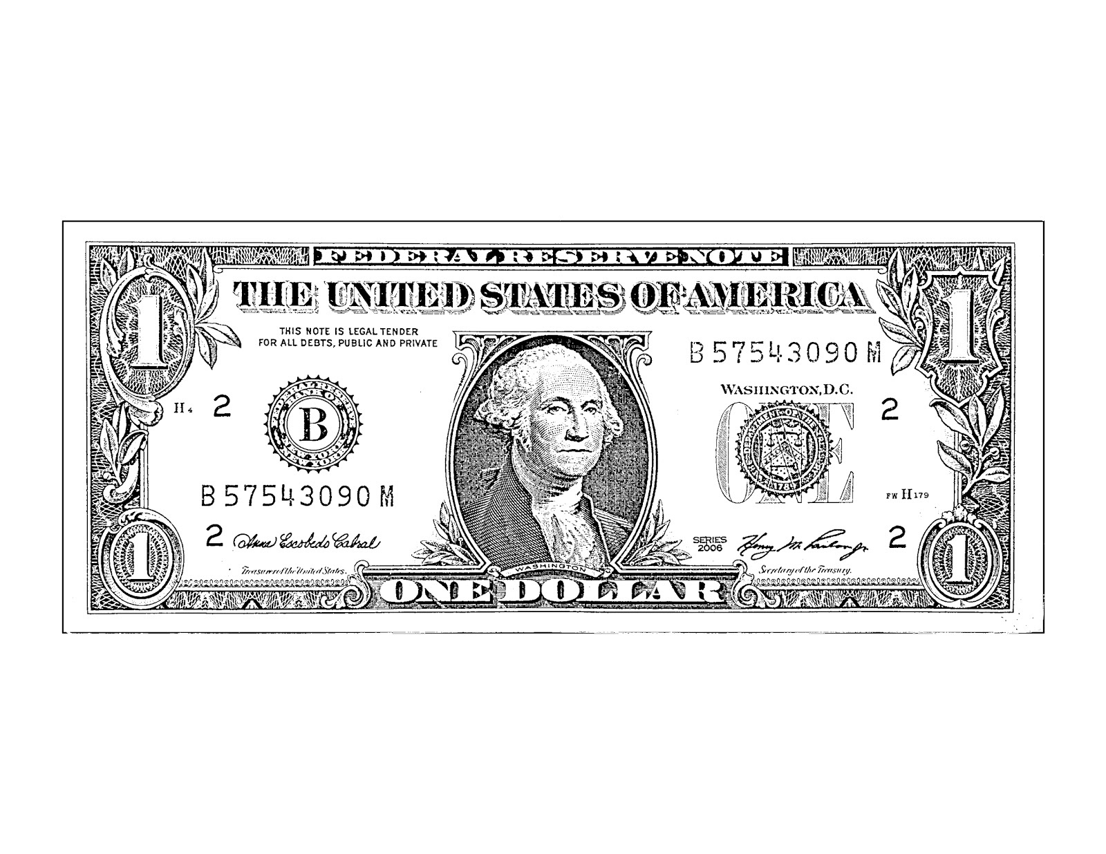 Clipart Money Bills Black And White.