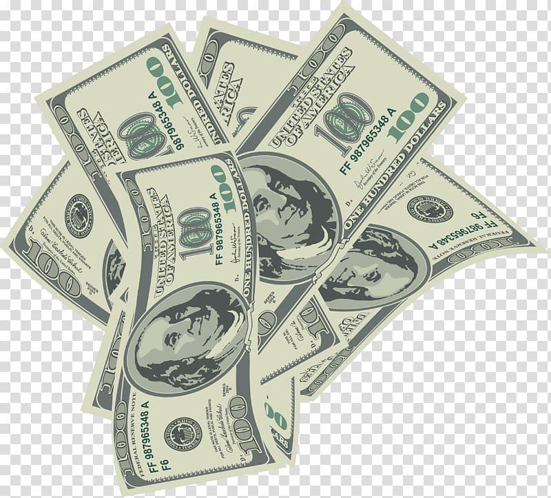 Six 100 US dollar banknotes illustration, Money , Falling money.