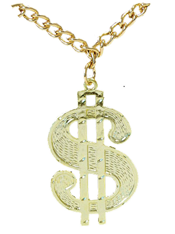 Details about New 70's Gangster Disco Gold Dollar Necklace Chain Pendant  Medallion Fancy Dress.