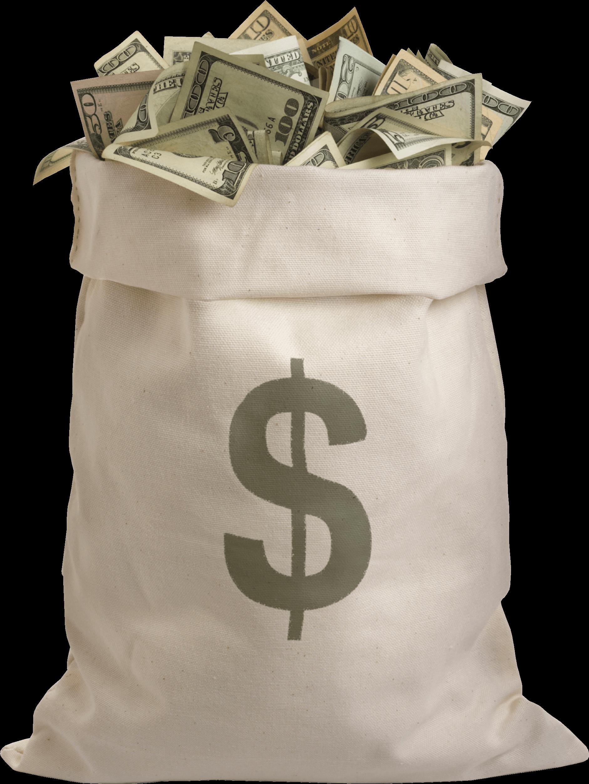 Bag Full Of Dollars Money transparent PNG.