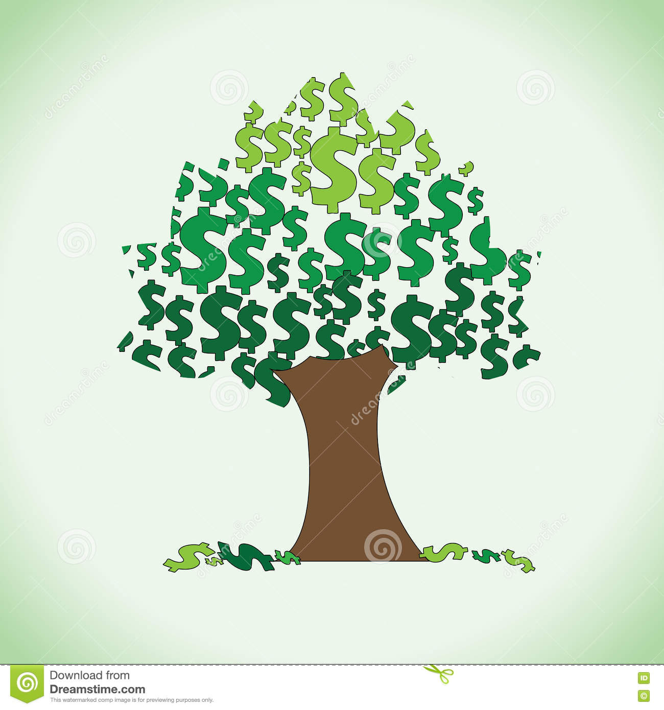Big dollar tree clipart stock vector. Illustration of dollars.