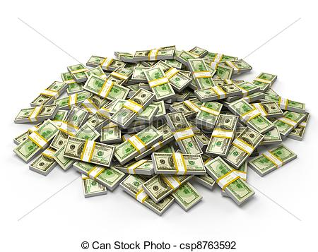 Clip Art of Pile of dollar bundles.