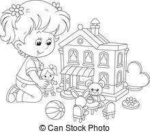 Doll House Clipart Black And White.