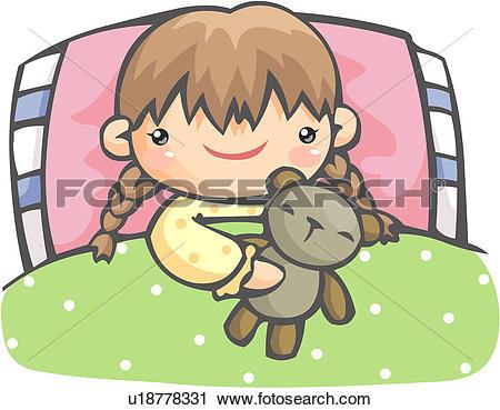 Clipart of teddy bear, girl, doll, bed, lying, child u18778331.