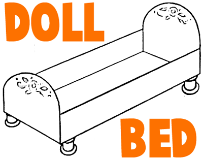 Doll's bed clipart #20