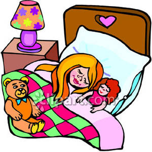 Young Girl Sleeping In Bed with Her Doll and Teddy Bear Close By.