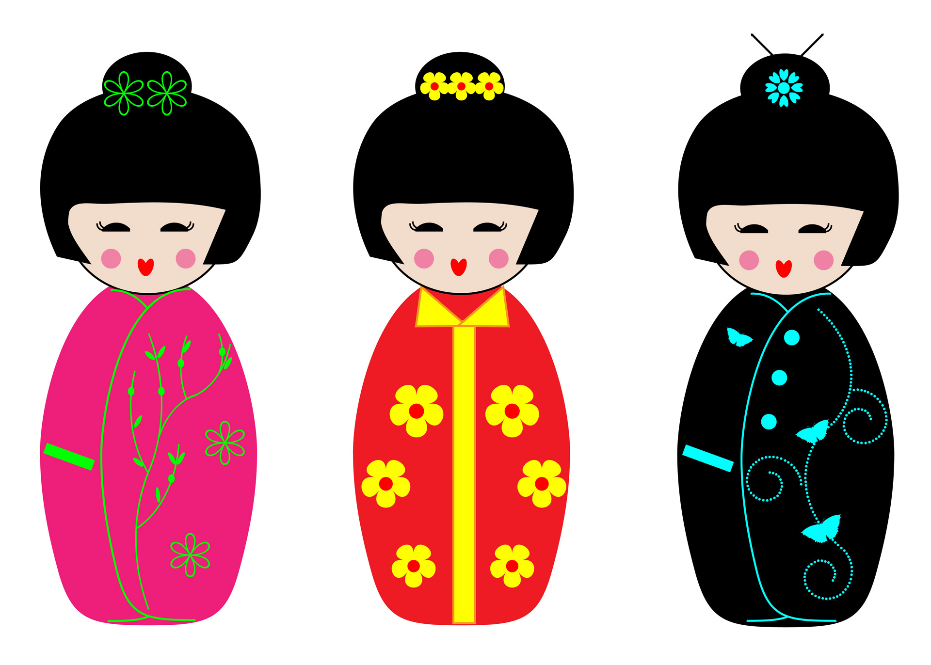 Kokeshi Dolls Clipart Free Stock Photo.