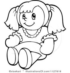 Dolls clipart black and white.