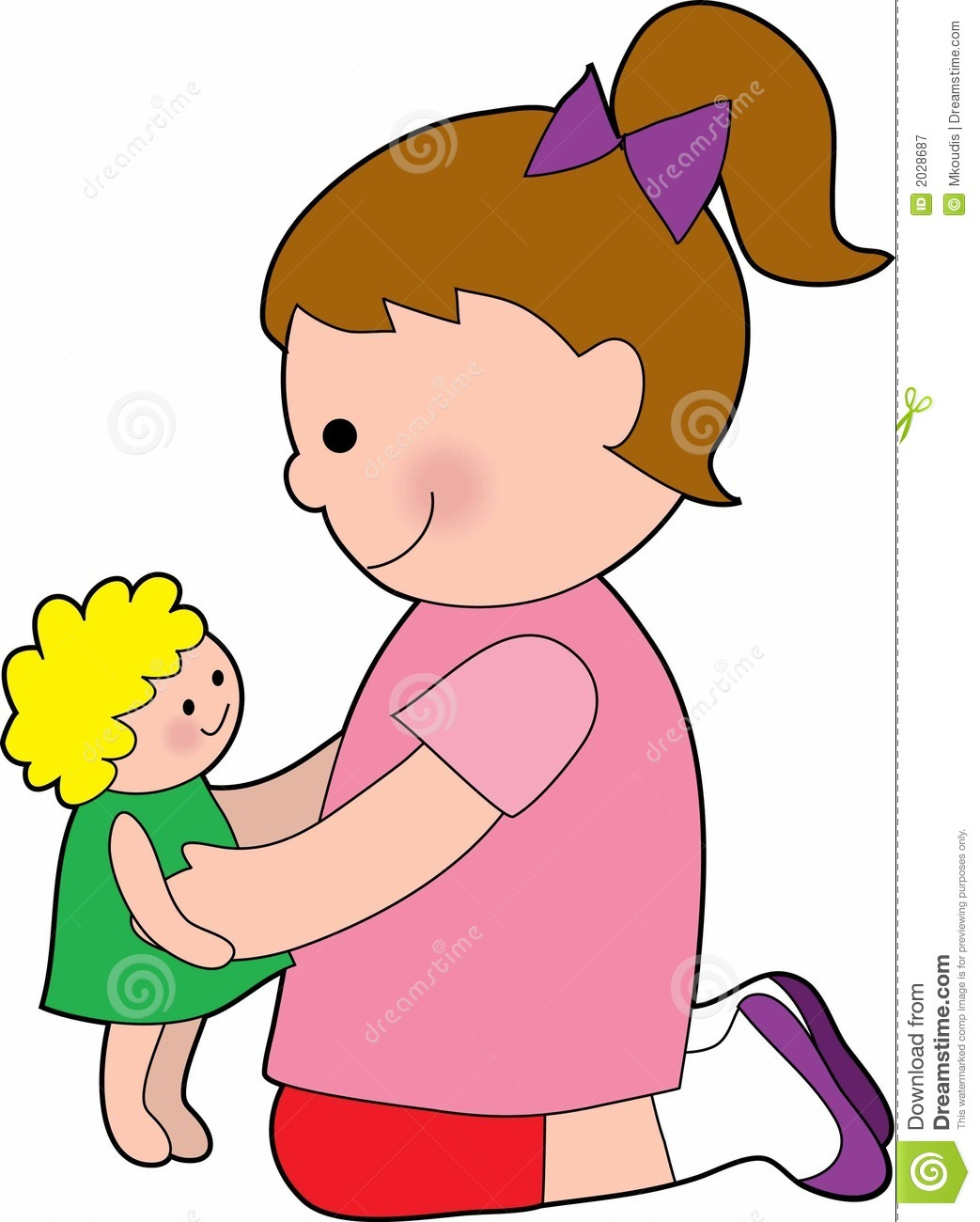 Playing with dolls clip art.