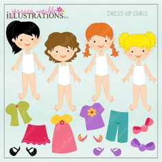 Dress Up Girl V2 Dark Skin clipart set comes with 14 cute pieces.