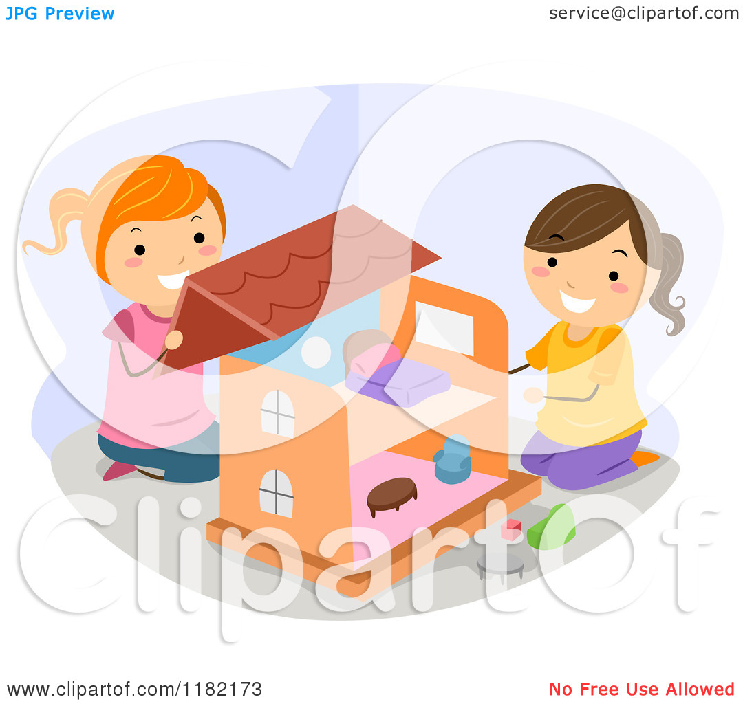 Cartoon of Happy Girls Playing with a Doll House.