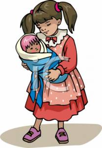 Clipart Picture of Young Girl with a Dolly.