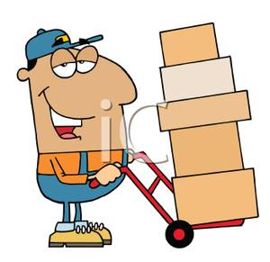 A Worker Moving Boxes with a Dolly.